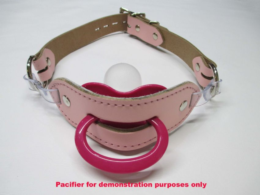 Leather AB/DL, Locking Pacifier Holder Gag,
